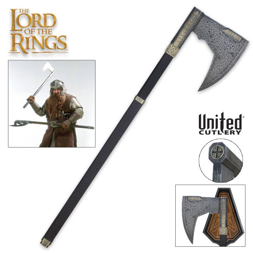 Battle axe of Gimli SILVER Finish from lord of the ring Full size