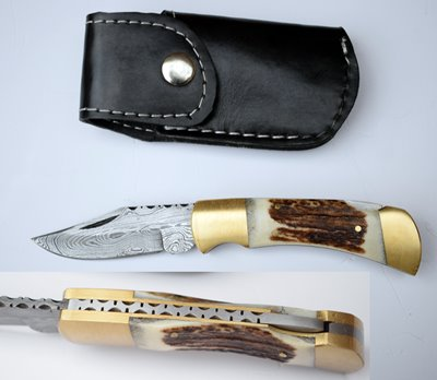 Damascus Stag Folder